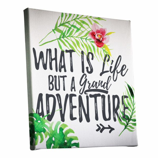 Life A Grand Adventure Quote Watercolour Canvas Print