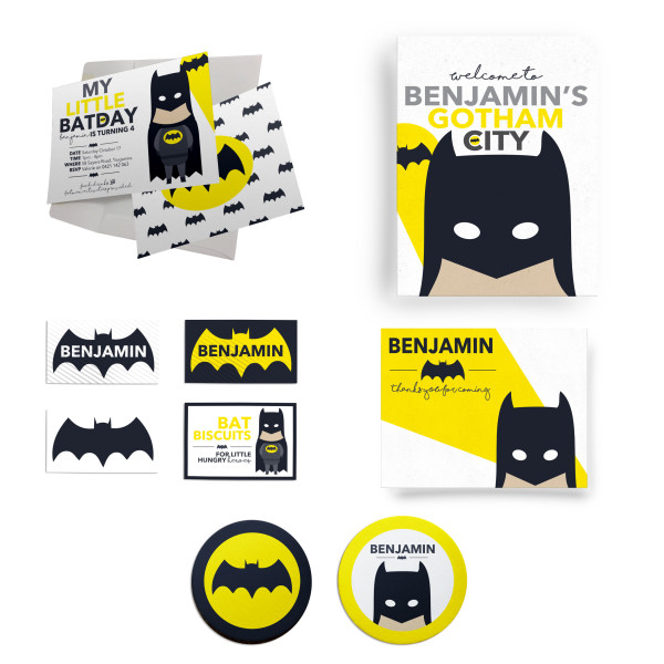 Batman Birthday Party Personalised Custom Invitation Supply Set Melbourne Australia
