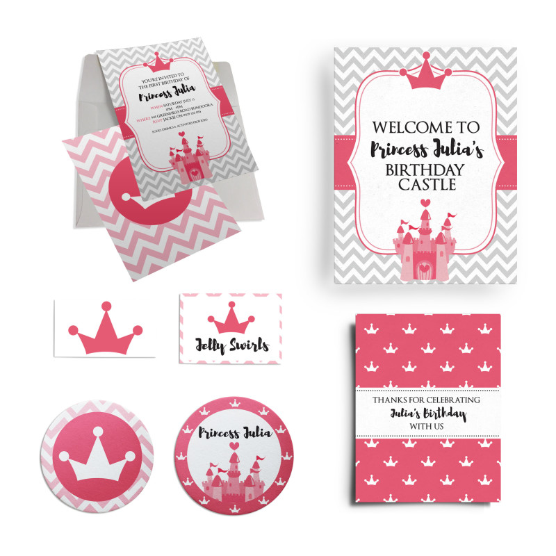 Princess First Birthday Party Personalised Custom Invitation