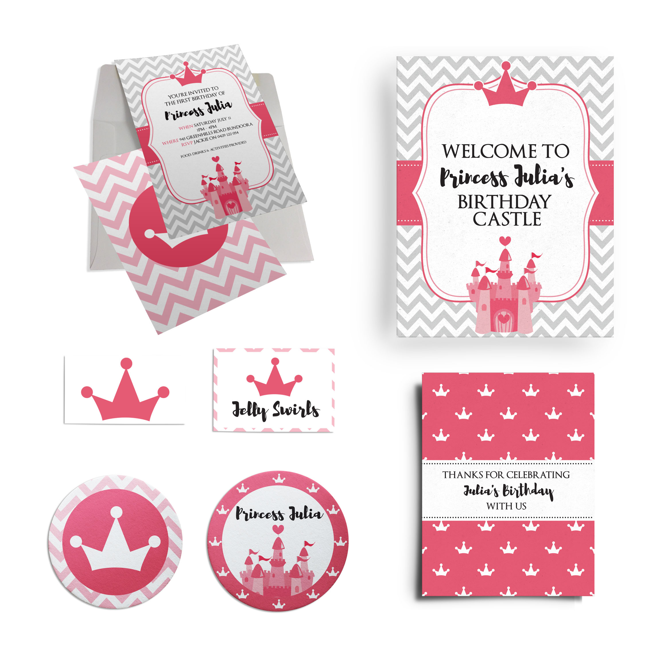 Princess Birthday Party Collection inc. Invitations & Labels Australia