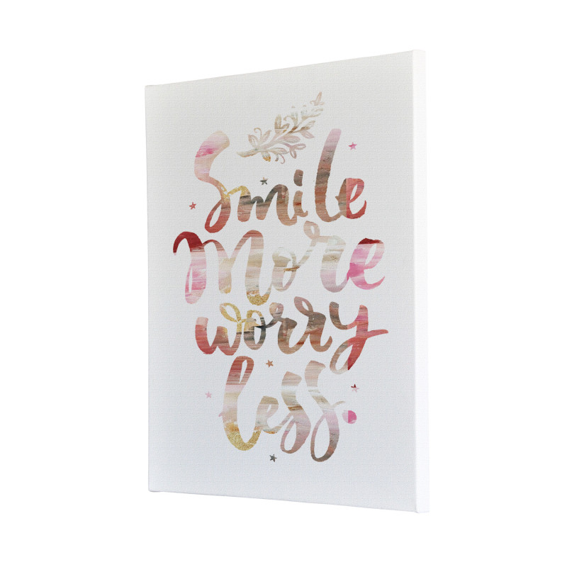 Smile More Worry Less Watercolour Canvas Print Design