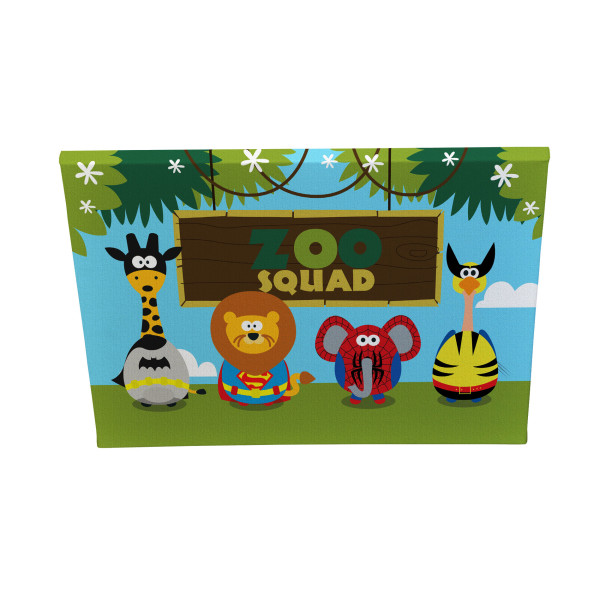 Superhero Animal Zoo Squad Canvas Print bedroom custom design Melbourne Australia