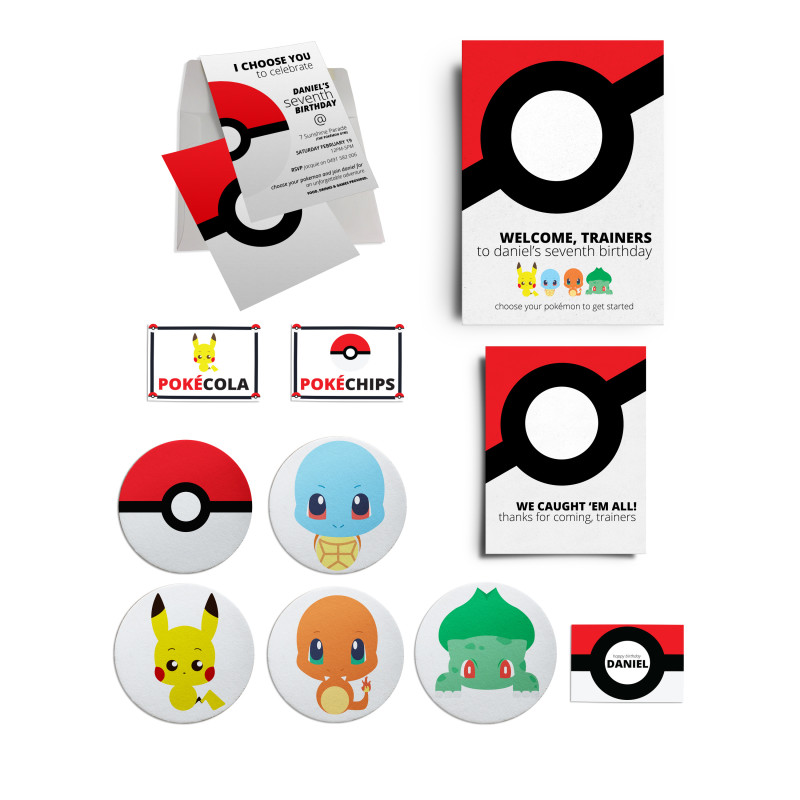 Pokemon Birthday Party Personalised Collection