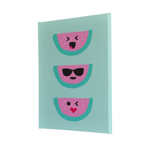Watermelon Faces Flat Design Canvas Print Design Portrait Melbourne Australia Bedroom