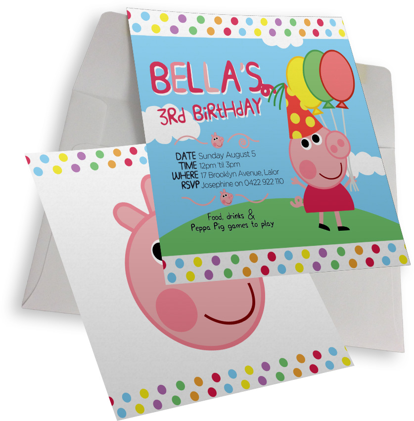 Peppa pig birthday party collection inc invitations labels australia peppa pig birthday party personalised collection filmwisefo Images