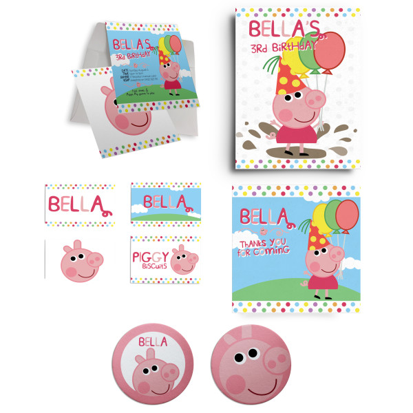 Peppa Pig Birthday Party Personalised Custom Invitation Supply Set Melbourne Australia