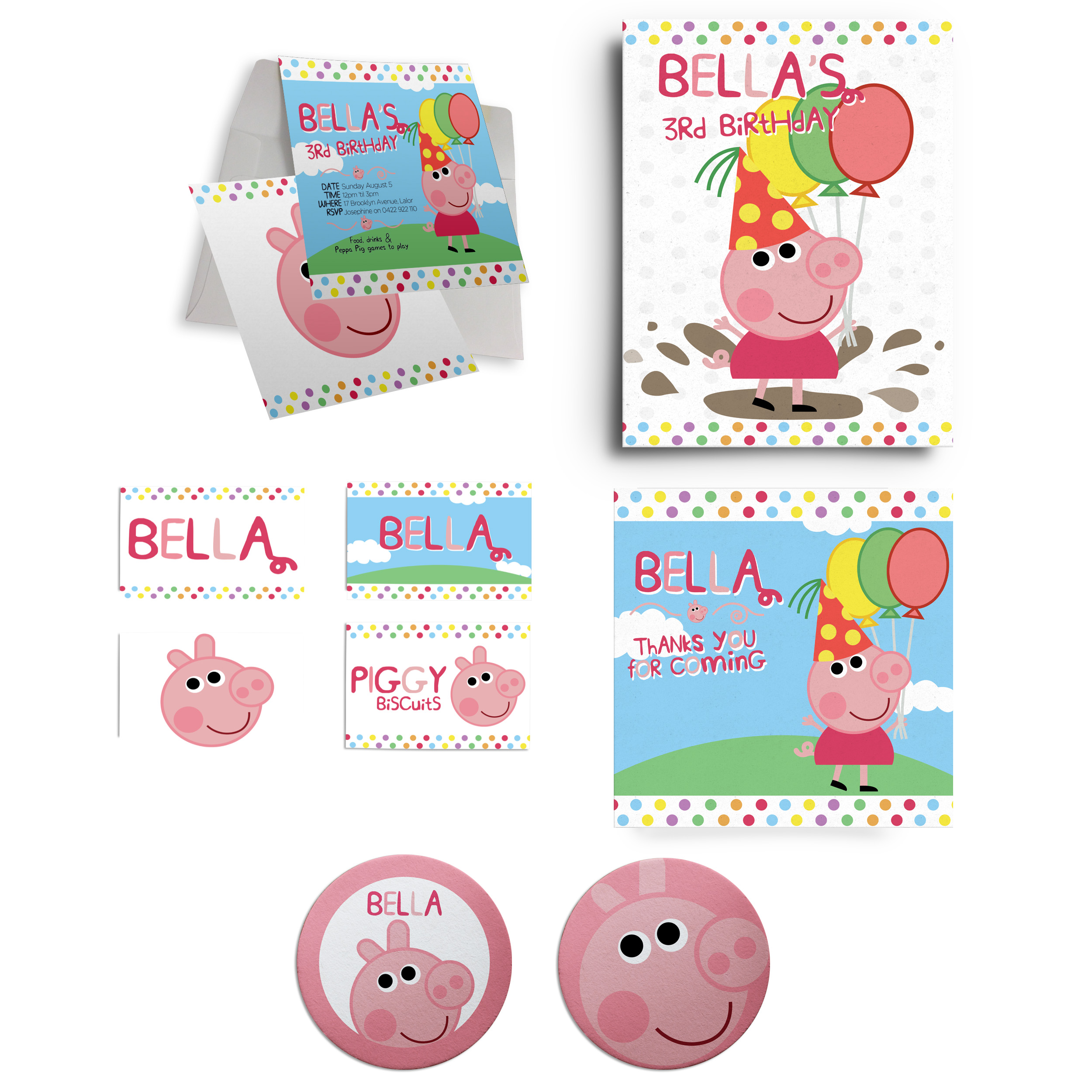 Peppa Pig Birthday Party Personalised Collection