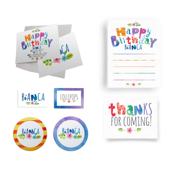 Flowers Watercolour Birthday Party Personalised Custom Invitation Supply Set Melbourne Australia